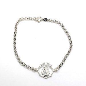 Pulsera con cadena rolo y medalla pandereta de la Virgen del Rocío. Fabricada en Plata de Primera Ley.