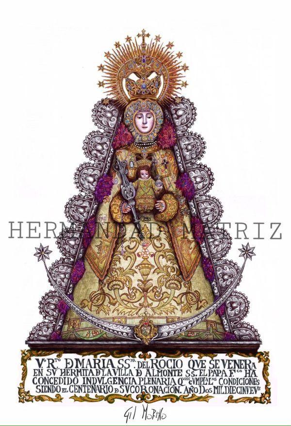 Lámina conmemorativa del primer Centenario de la Coronación de la Virgen del Rocío.