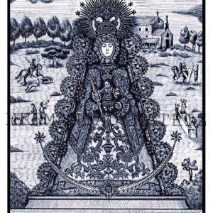 Lámina conmemorativa del primer Centenario de la Coronación de la Virgen del Rocío, en color: Blanco y negro