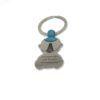 """Llavero Virgen del Rocío con forma de bebé niño/niña. Grabado """"Virgencita del Rocío Protégeme"""". Acero inoxidable. Color azul."""