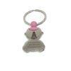 """Llavero Virgen del Rocío con forma de bebé niño/niña. Grabado """"Virgencita del Rocío Protégeme"""". Acero inoxidable. Color rosa."""