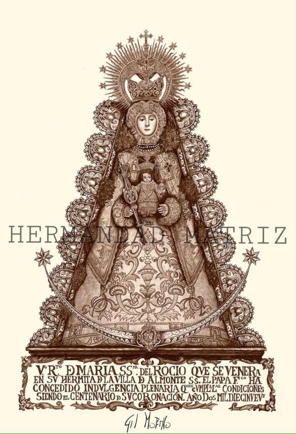 Lámina conmemorativa del primer Centenario de la Coronación de la Virgen del Rocío, en color sepia