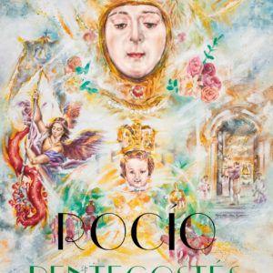 Pack solidario Cartel Pentecostés papel 2020 ROCÍO DE LUZ + Colgadura XL para balcón tela ROCÍO DE LUZ + PULSERA ROCÍO DE LUZ