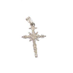 Colgante Cruz Espadaña del Santuario de Nuestra Señora del Rocío. La medalla está fabricada en Plata de Primera Ley.