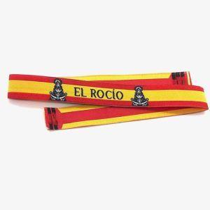 Pulsera de tela de la Virgen del Rocío, con bandera de España.
