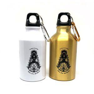 Botella Virgen del Rocío con tapón de rosca, en aluminio con acabado brillo. Color: Blanco o dorado.