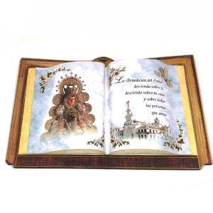 Sobremesa Virgen del Rocío con forma de libro. Incluye soporte.