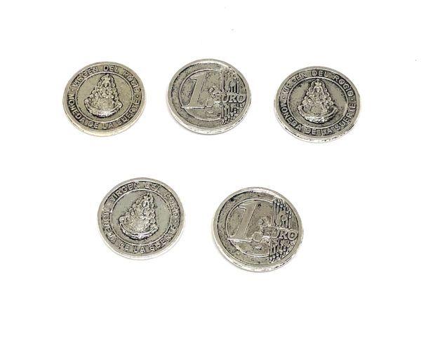 Monedas de la Suerte Virgen del Rocío color plata, en material: Zamak