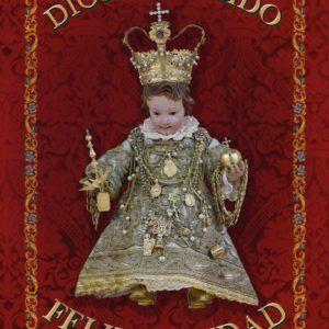 Colgadura para Navidad, rociera en tela niño rey.