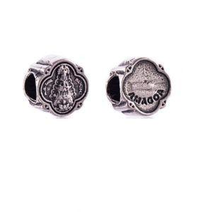 Charm Pandereta Virgen del Rocío fabricado en Plata de Primera Ley. Compatible con pulsera Pandora.